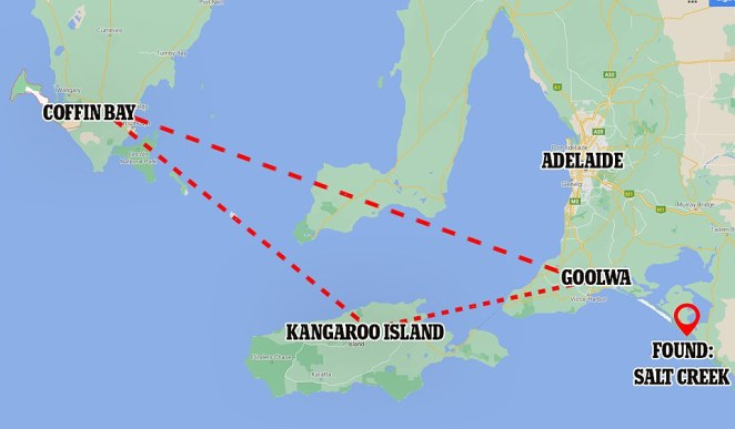 The men were headed to Goolwa, from Coffin Bay near Port Lincoln, they told a friend they would try make it to Kangaroo Island after their engine failed but ended up in Salt Creek