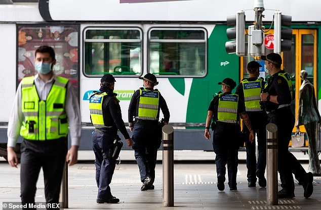 Australian Taxpayers' Alliance policy director Emilie Dye said the rest of Australia shouldn't be paying for Victoria's use of the police 'to silence the people'. Pictured are police patrolling a Melbourne city street