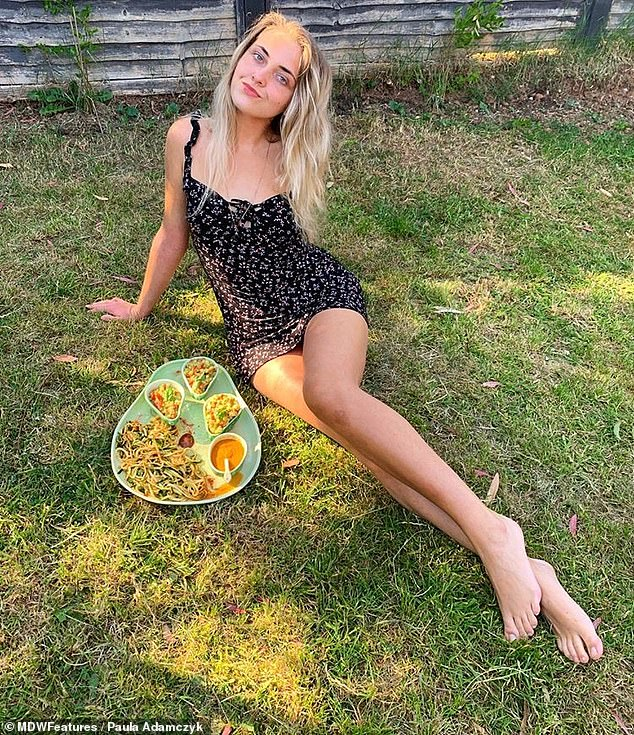 Model, Paula Adamczyk, 22, from Taunton, Somerset, switched to a fruitarian diet in 2018 consisting solely of raw fruit and vegetables to cure her eczema