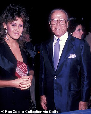 "Aldo Gucci and daughter Patricia Gucci attend the premiere of ""Yes, Giorgio"" on September 22, 1982"