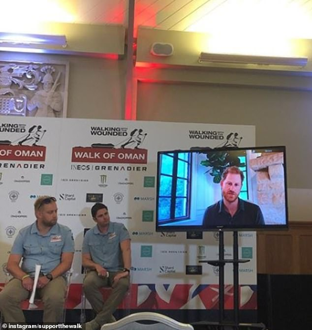 Prince Harry, 35, shared a video message to offer his support to military veterans taking part in a gruelling challenge for the armed forces charity Walking With The Wounded