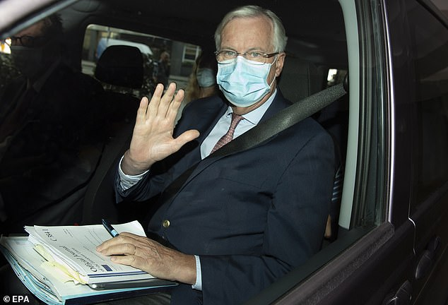 Michel Barnier, pictured in London this morning, will today conclude the latest round of Brexit trade talks with British counterpart Lord Frost but the chances of a breakthrough appear slim