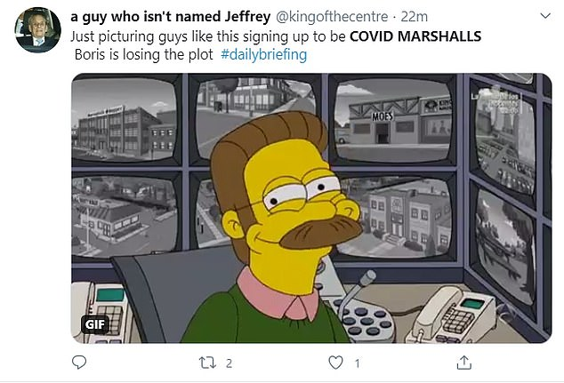 A particularly smug Ned Flanders from The Simpsons matched this user's idea of a Covid marshal