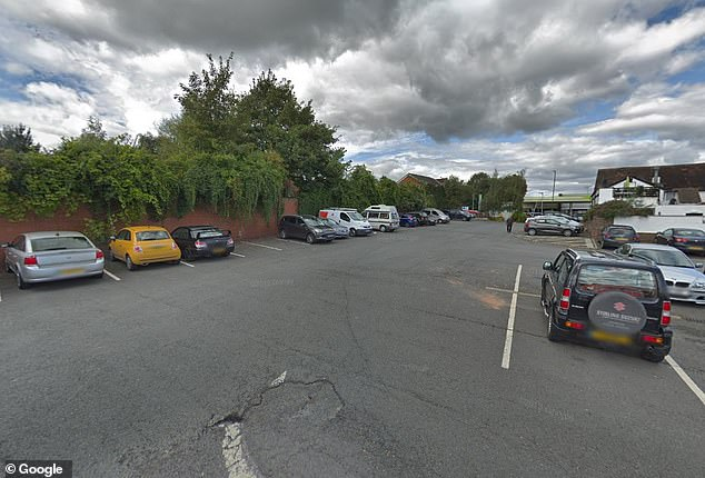 Mr Lewis was told by an NHS 111 call handler to pull over as soon as possible after developing pains under his arms, so he parked in nearby Dishley Street car park (above)