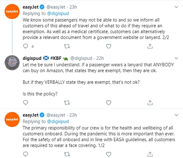 The video was shared on Twitter on Wednesday by Mr Spinks's friend Philip MacFarlane and easyJet responded