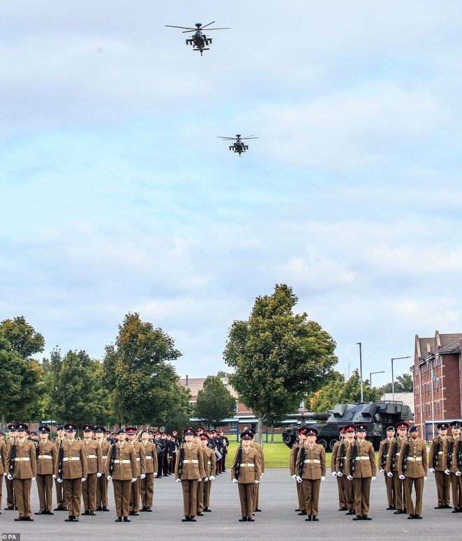 He watched a flypast of two Apache helicopters. The parade was a scaled-down version of the passing-out event due to coronavirus, with each soldier allowed only two family guests