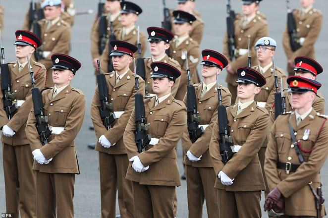 The soldiers stood to attention during the inspection. It followed 18-months of gruelling training to reach graduation