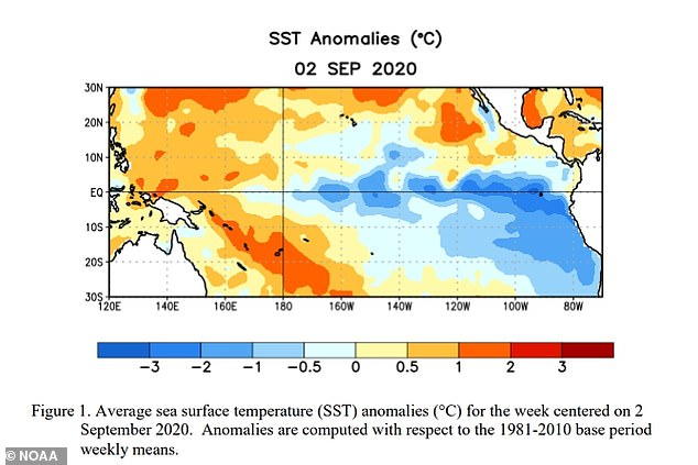 NOAA observed below-average temperatures stretching across the central and eastern regions of the Pacific Ocean in August, along with atmospheric circulation anomalies hanging over the surface -