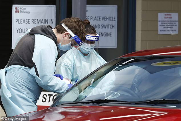 The nation's COVID-19 death toll has since doubled - increasing from 375 nationwide on August 14 to 788 on Thursday. Pictured: Medical professionals performing COVID-19 tests at a drive through clinic at Ballarat