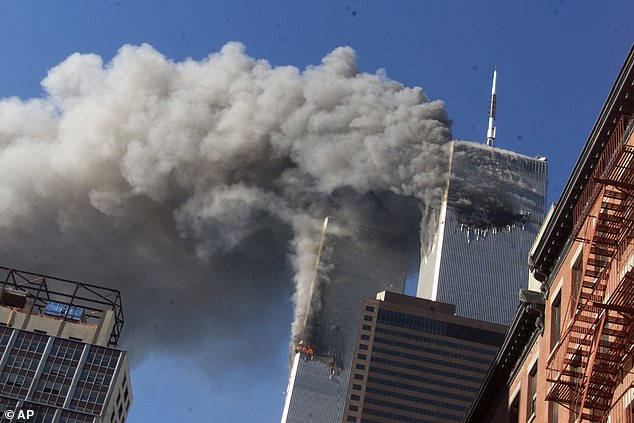 Nearly 3,000 people lost their lives on 9/11, including 2,606 who died in the World Trade Center attacks (pictured) after four United Airlines planes were hijacked by al-Qaeda