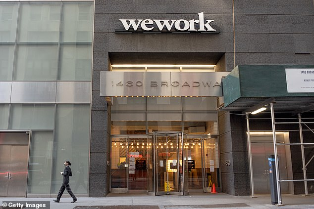 Co-working companies like WeWork (pictured) were New York City's were among the biggest renters of office spaces