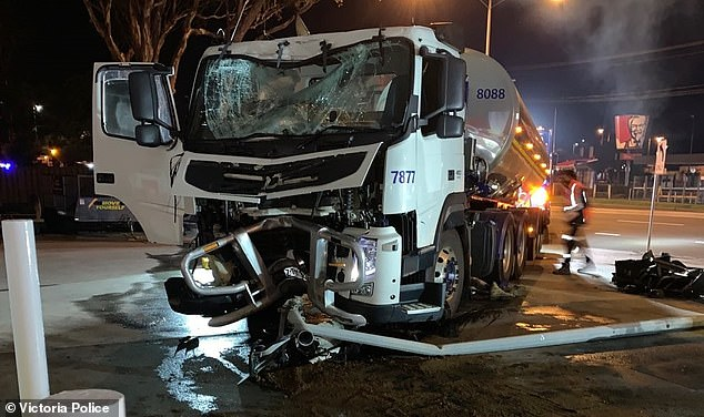 This milk tanker was extensively damaged after it lost control and crashed into a petrol station