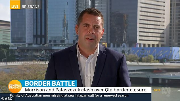 Michael Rennie returned to TV screens on Friday morning (pictured) to report on Premier Annastacia Palaszczuk's decision to deny a woman the chance to attend her father's funeral