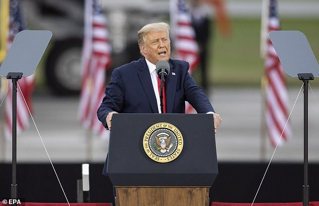 The president held the rally at the MBS International Airport where he was met by a cheering crowd of several thousand, packed shoulder-to-shoulder, mostly without masks