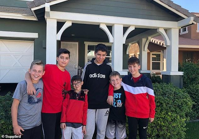 All six boys at their home in Phoenix, Arizona:Jett (Mat's son), Max, Jett (Cristina's son), Jack, Jacob and Cruz