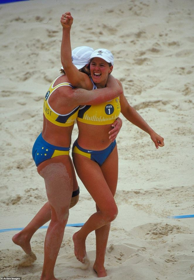 The Australians (pictured) win the gold in the beach volleyball at Bondi Beach in Sydney in front of hundreds of fans