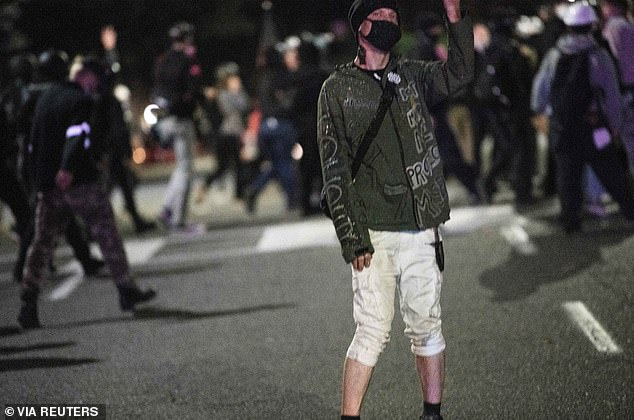 Self-declared anti-fascist activist Michael Reinoehl, who was shot and killed by police in Washington State on September 3, 2020, takes part in protests against police violence and racial inequality in Portland, Oregon, U.S. in this photo taken July 18, 2020