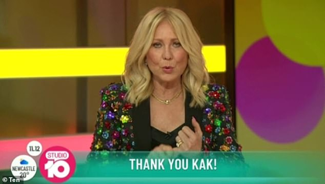 No tears:The 66-year-old host put on a brave face as she signed off for the very last time, thanking her co-hosts Sarah Harris, Angela Bishop and Joe Hildebrand for their continuous support over the years
