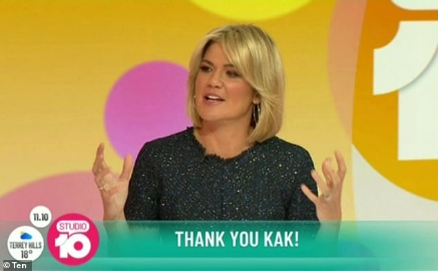 Singing her praises:Sarah Harris praised Kerri-Anne, calling her 'strong, wildly funny and a beautiful woman'
