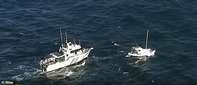 One of the propeller's three blades broke off the boat named Margrel (right) after hitting a turtle or submerged log - extending their journey from four to eight days