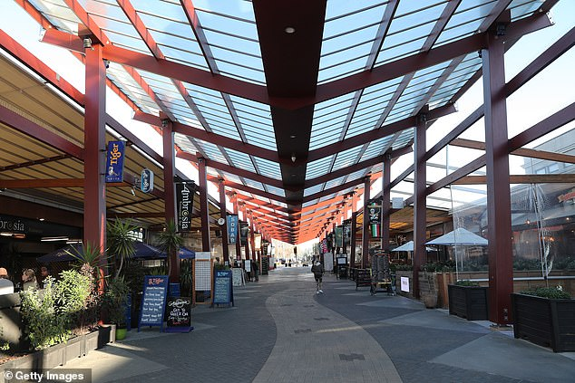 The popular 'Eat Street' in Rotorua, New Zealand is seen empty during the COVID-19 lockdown