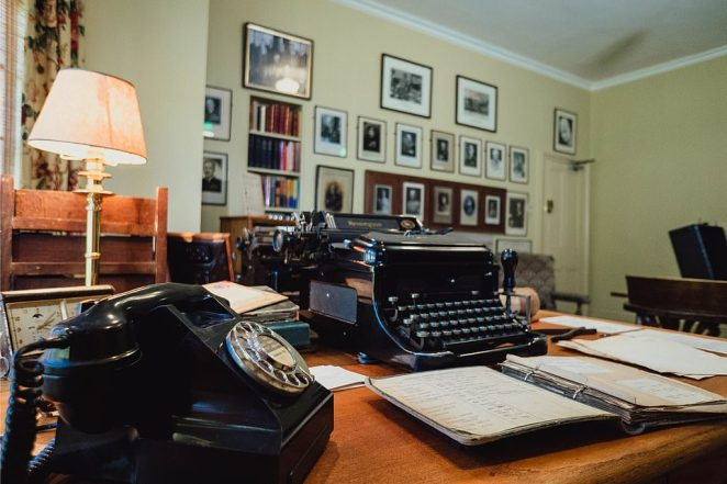 The secretaries' office in Chartwell House near Westerham, Kent, which has been recreatedas it was in the 1950s using photos and secretaries' memories, as part of a £7.1m project by the National Trust to obtain hundreds of Churchill's heirlooms