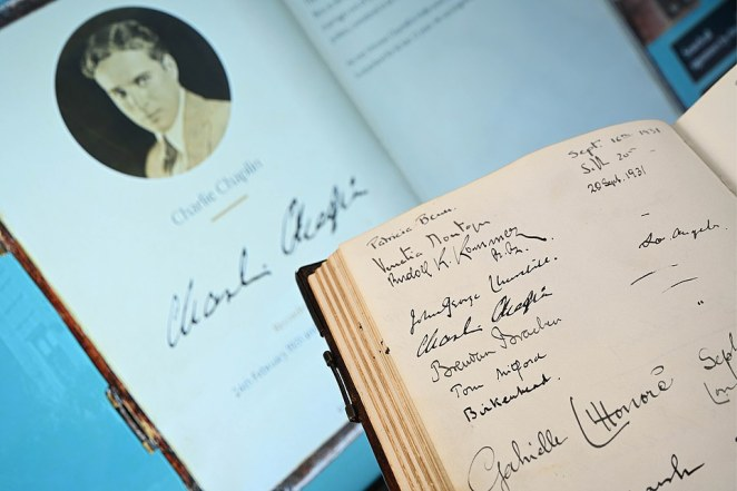 The handwritten visitors' book, containing over 700 entries made between 1924 and 1964 including that of Charlie Chaplin, suffragette Christabel Pankhurst and politician David Lloyd George, has also been digitised for guests to scroll through