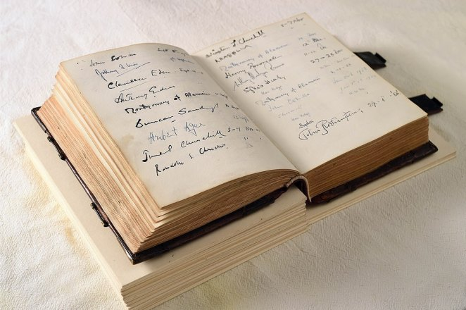 The handwritten visitors' book, pictured. The project was supported by volunteers, working closely alongside the Trust's curators, to help research the book and reveal previously undeciphered names