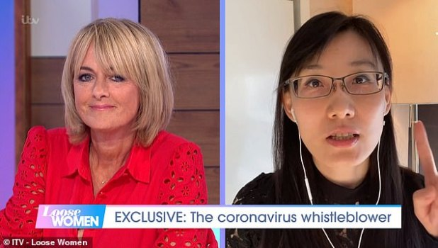 Yan, pictured with host Jane Moore, plans to publish a report claiming that the virus is man-made