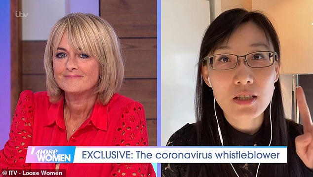 Yan, pictured with host Jane Moore,plans to publish a report she claims has evidence the virus is manmade