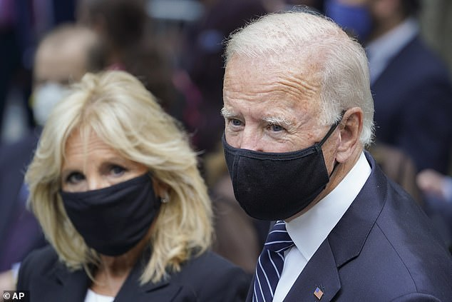 Democrats are running up a big advantage in mail ballot requests and early voting in battleground states. Here Democratic presidential candidate and former Vice President Joe Biden, right, and Jill Biden arrive at the National September 11 Memorial and Museum, Friday, Sept. 11, 2020, in New York
