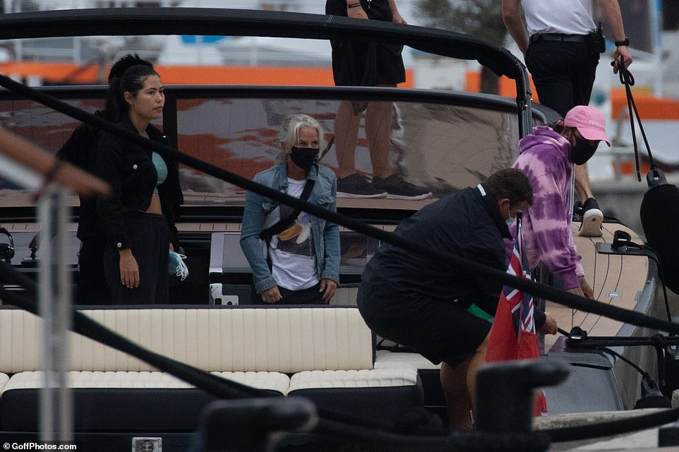Yacht life:According to onlookers, the pair only left the boat to walk Lewis' beloved pet bulldog Roscoe and then to board a helicopter to go to Italy where the next Formula 1 grand prix will take place