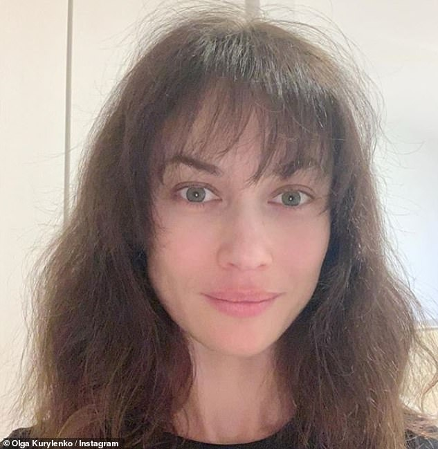 New look: The Seven Psychopaths star then took to Instagram in April to reveal she opted to cut her own fringe after salons were forced to close for almost four months due to the crisis