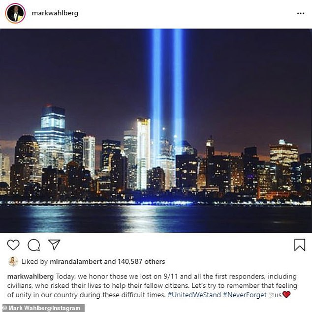 Honoring those we lost: Mark Wahlberg also shared an image of the Manhattan skyline and wrote a touching tribute