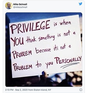 A post to his Twitter, which has since been deleted, spoke about tackling white privilege