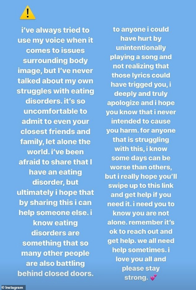 Candid: In a post shared on her Instagram Stories, Charli said, 'It's so uncomfortable to admit to even your closest friends and family, let alone the world'