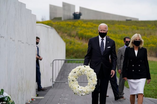 Joe Biden and his wife Jill traveled to the Flight 93 National Memorial shortly after attending a 9/11 memorial ceremony in New York City, and Trump's speech in Shanksville
