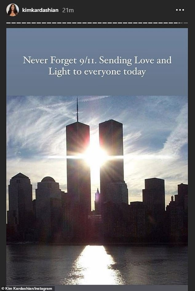 Still in her heart:That same day Mrs Kanye West shared a note to honor the victims of 9/11. 'Never forget 9/11,' said the mother of four'