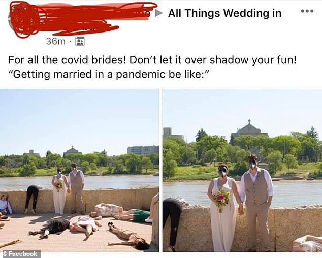 'Heartless': The images were shared on a wedding-shaming group on Facebook, where a user posted them with the original caption that read, 'Don't let [COVID] overshadow your fun!'