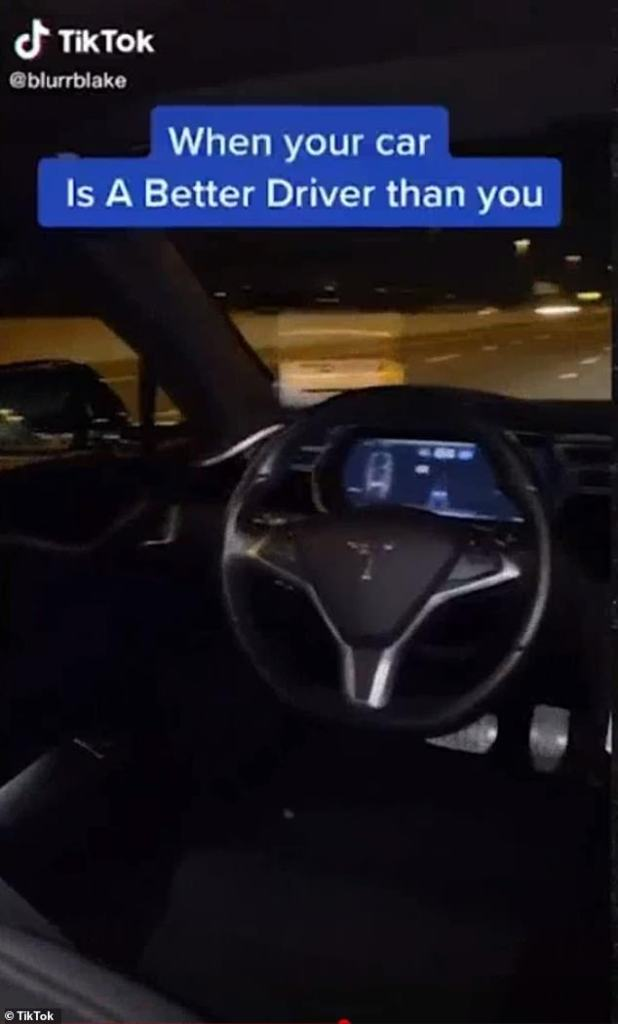 A TikTok video shows a Tesla car driving down the California highway on autopilot and no one on the driving seat as four passengers drink and sing along with Justin Bieber.