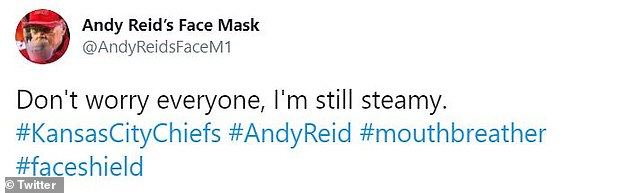 One Twitter user even started an account for the facial shield: @AndyReidsFaceM1