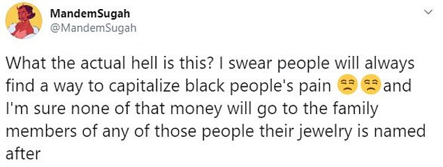 User: 'What the actual hell is this? I swear people will always find a way to capitalize black people's pain'