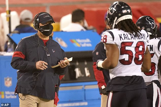 NFL coaches and staffers have been asked to wear facial coverings on the sidelines as the season gets underway amid the coronavirus pandemic. Reid's counterpart, Houston's Bill O'Brien (pictured), wore a cloth mask, and appeared to be less distracted