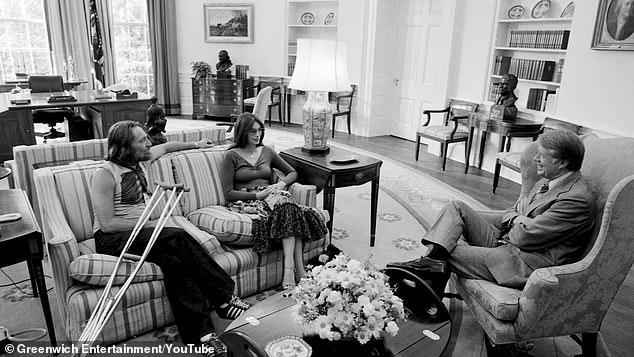 Willie Nelson visits with President Jimmy Carter at the White House