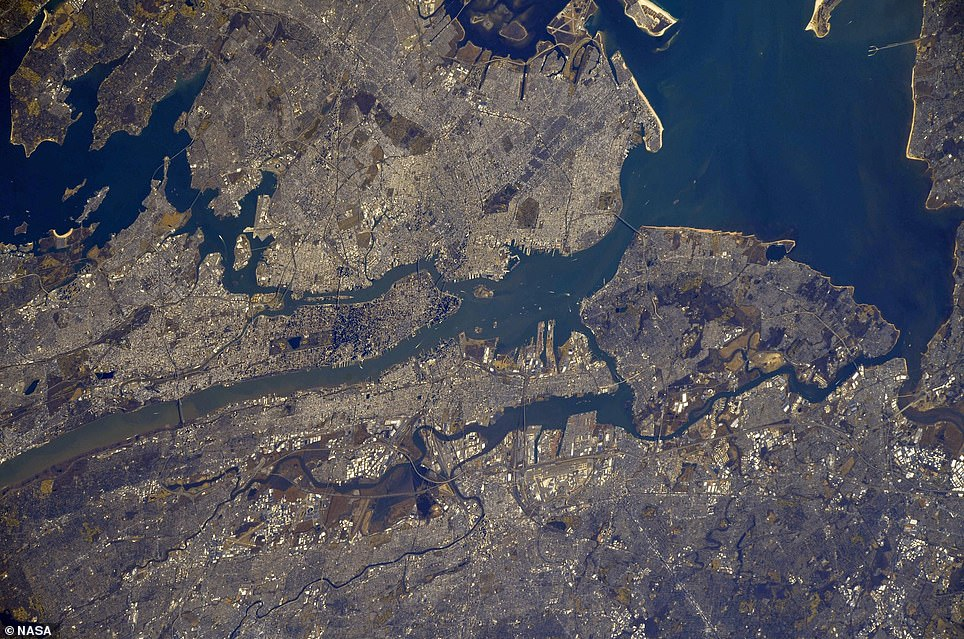 In honor of the 19th anniversary, NASA shared a satellite images of lower Manhattan as it looks today (pictured)