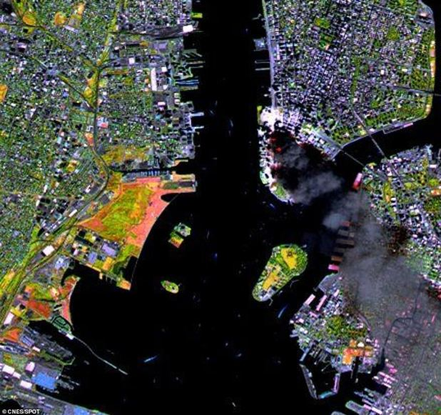 It was about 11:30 a.m. ET, 20 minutes before Rudolph Gilliani, who was mayor of New York at the time, ordered the lower Manhattan to be evacuated and about an hour after the second tower collapsed.  This device is equipped with infrared technology, which exposed fire spots (red dots) in the vicinity of the catastrophe