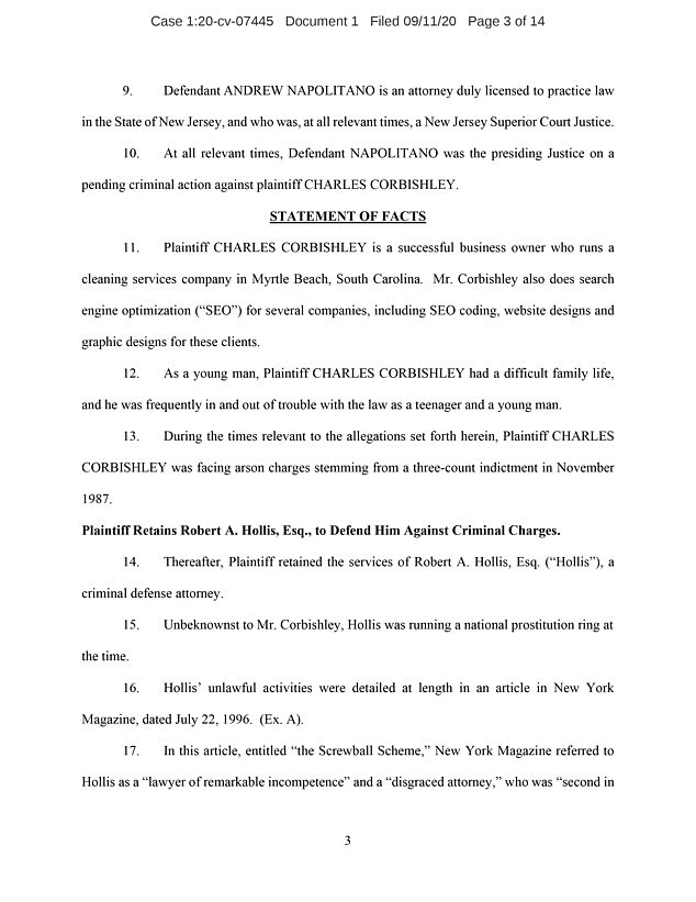 At the time, Corbishley was not aware that Hollis was ¿running a national prostitution ring¿ as well as engaging in other acts that resulted in him being disbarred in New Jersey numerous times, according to the court filing