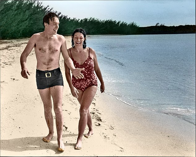 Cast's away! Carol and Christopher on a break in the Bahamas. 'It took months before we found common ground; a basis for friendship. A friendship that later blossomed into a love affair. I think it's fair to say that we didn't hit it off in those early days.'