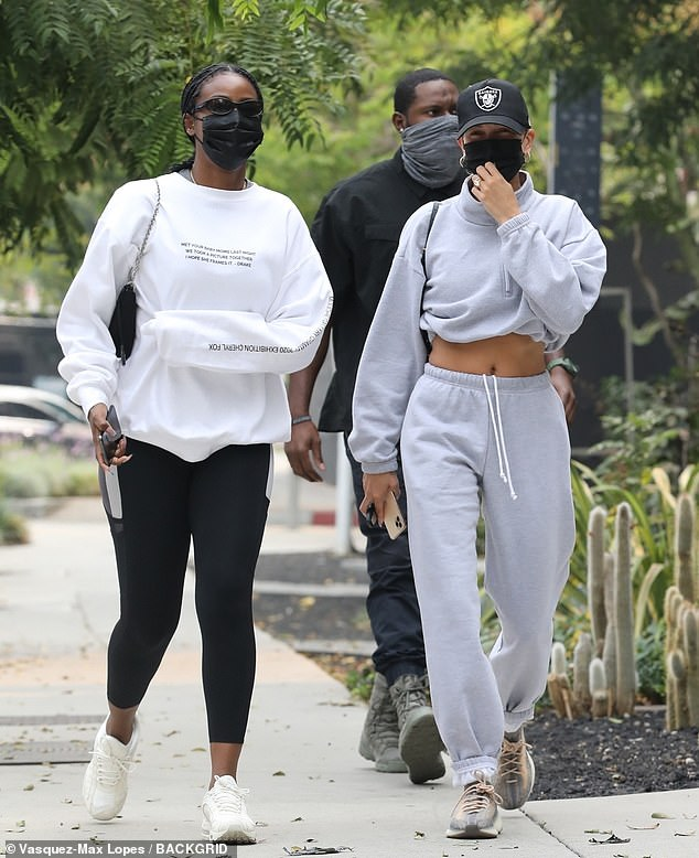 Dynamic duo:Hailey Bieber cut an athletic figure Friday, when she was spotted in West Hollywood making her way from the gym to lunch with best friend Justine Skye
