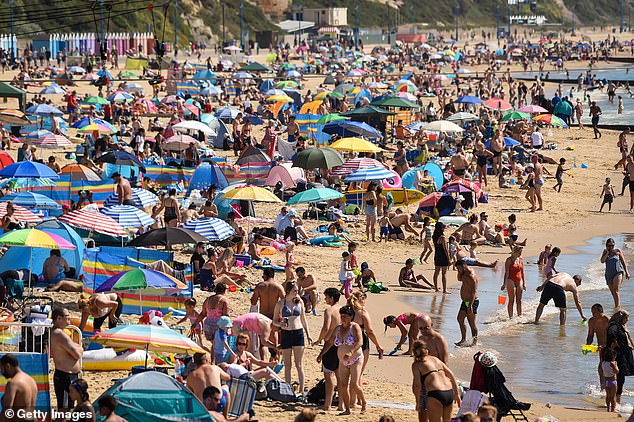 Parts of the country are set to bask in a summer heatwave next week. Pictured: Bournemouth on August 7